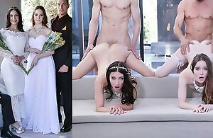 Comely brides with natural tits swapping their dads