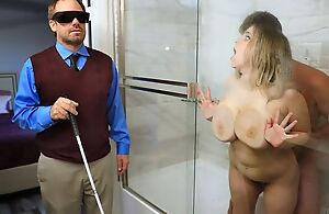 Broad in the beam floosie with saggy tits cheats on the brush blind economize on