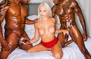 Glamorous blonde girl deep throats twosome BBC while getting fucked by another
