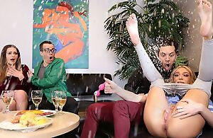 Horny tattooed shine pounds pretty blonde coddle atop the sofa