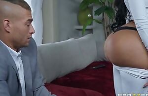 Black-haired bitch with fake interior and ass fucks Xander all over bed