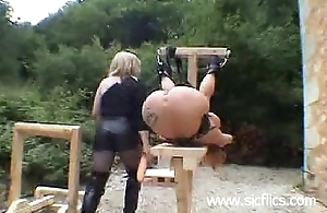 Outdoor monster dildo fucked and fisted poignant pierced slave whore