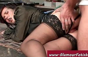 Wood worker fucks glamorous babes throat