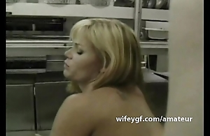 Chef geek wifey is lovemaking screwed in kitchen by her sous