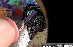Naturally clothed bukkake cosset splattered in public restroom