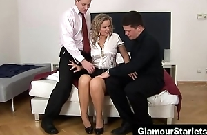 Spiffy glamour stockings threesome