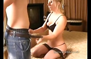 Eleemosynary slut in lingerie is a hot blonde who needs crabby cock