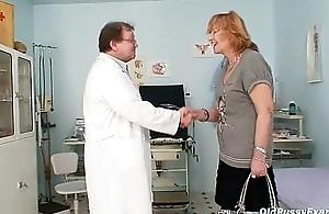 Redhead granny exploitatory pussy dilation in gyn clinic