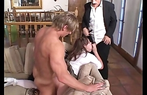 step daughter fucks stepdad together with friend