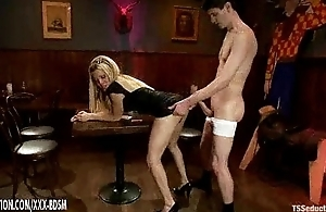 Blonde tranny Paris gets anal fucking relative to the coffee bar