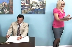 Blonde gives a footjob and foot venerate respecting serving-man