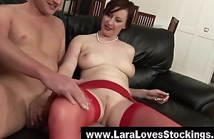 Mature in stockings fucking a bald guy