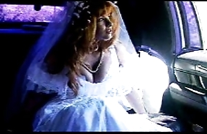 passenger car sex - bride in white stocking limo charge from