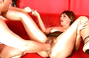 Squirting big fake penis of age